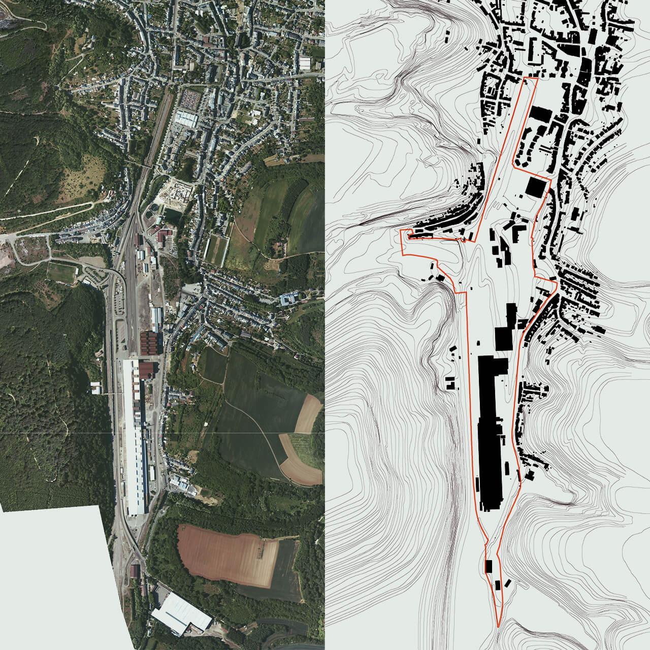 Coordination Neischmelz, Luftbild, Schwarzplan Plangebiet